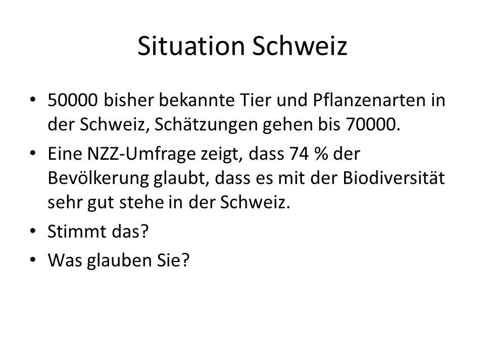 Situation Schweiz 50000 bisher bekannte Tier und Pflanzenarten in der Schweiz, Schätzungen gehen bis 70000.
