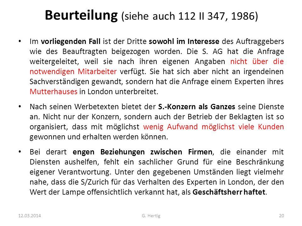 Beurteilung (siehe auch 112 II 347, 1986)