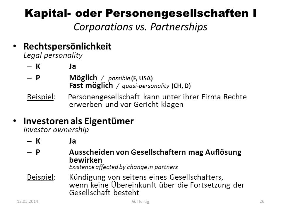 Kapital- oder Personengesellschaften I Corporations vs. Partnerships