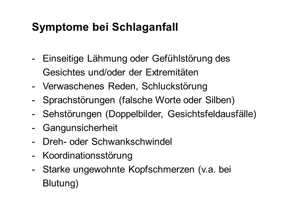 Symptome bei Schlaganfall