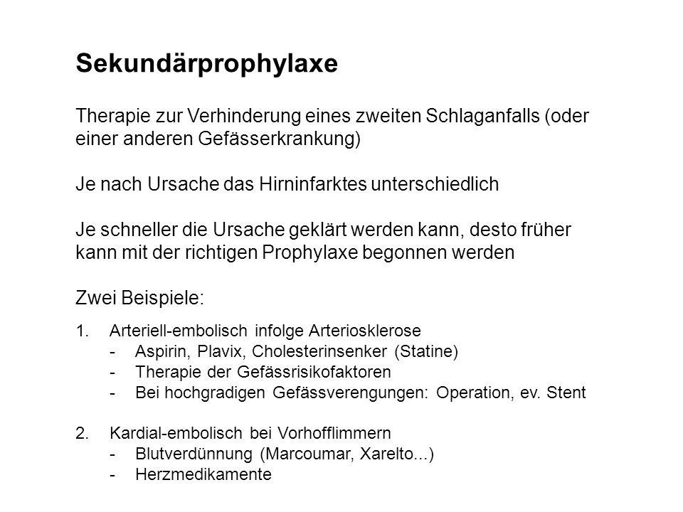 Sekundärprophylaxe Therapie zur Verhinderung eines zweiten Schlaganfalls (oder einer anderen Gefässerkrankung)