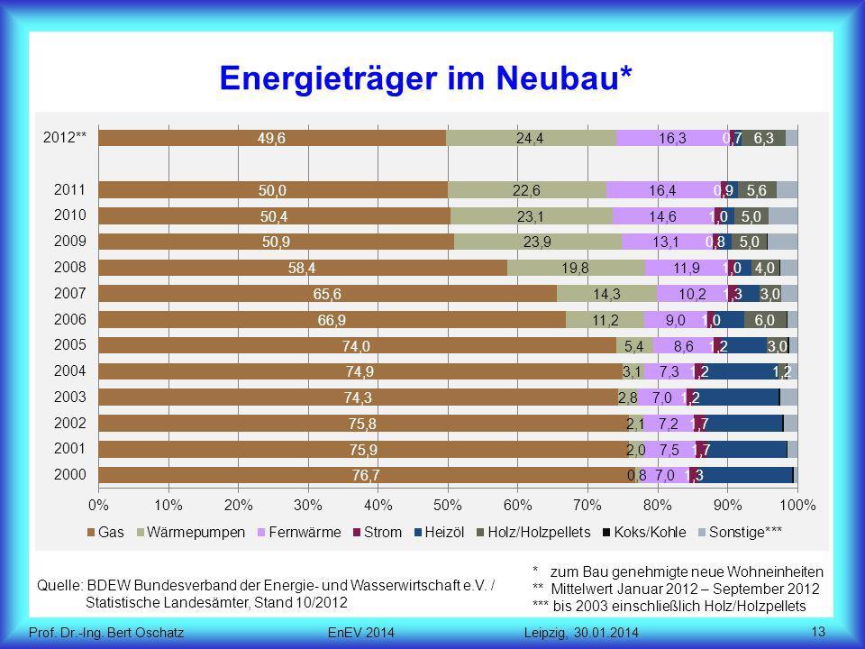 Energieträger im Neubau*