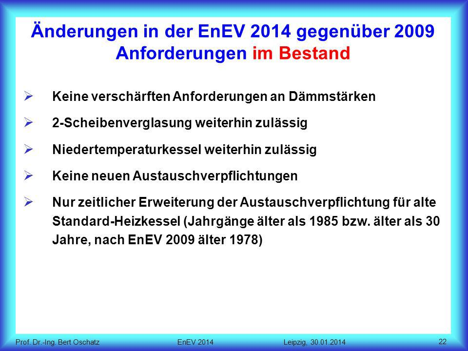 Änderungen in der EnEV 2014 gegenüber 2009 Anforderungen im Bestand