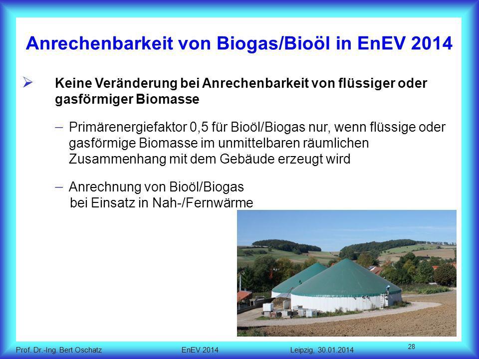 Anrechenbarkeit von Biogas/Bioöl in EnEV 2014