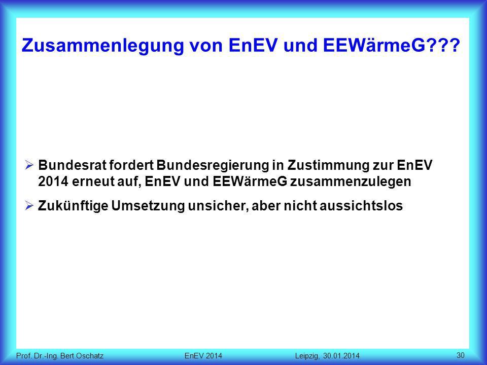 Zusammenlegung von EnEV und EEWärmeG