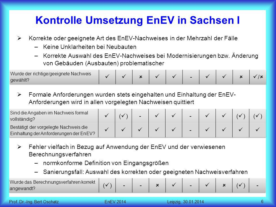 Kontrolle Umsetzung EnEV in Sachsen I
