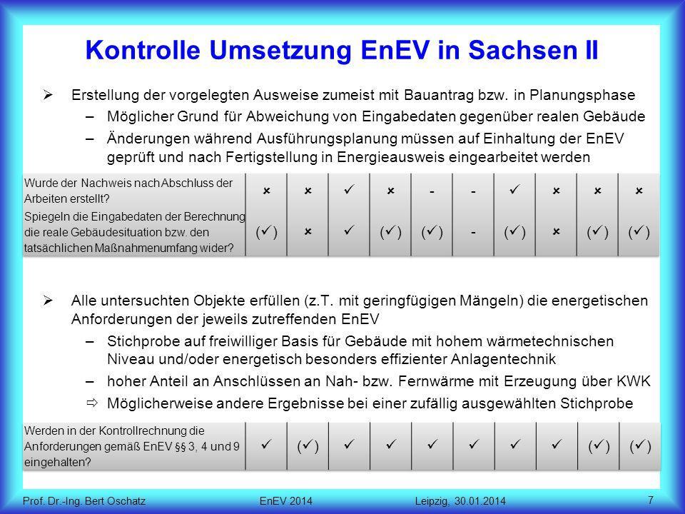 Kontrolle Umsetzung EnEV in Sachsen II