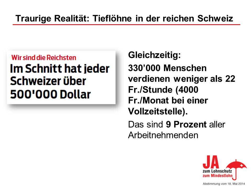 Traurige Realität: Tieflöhne in der reichen Schweiz
