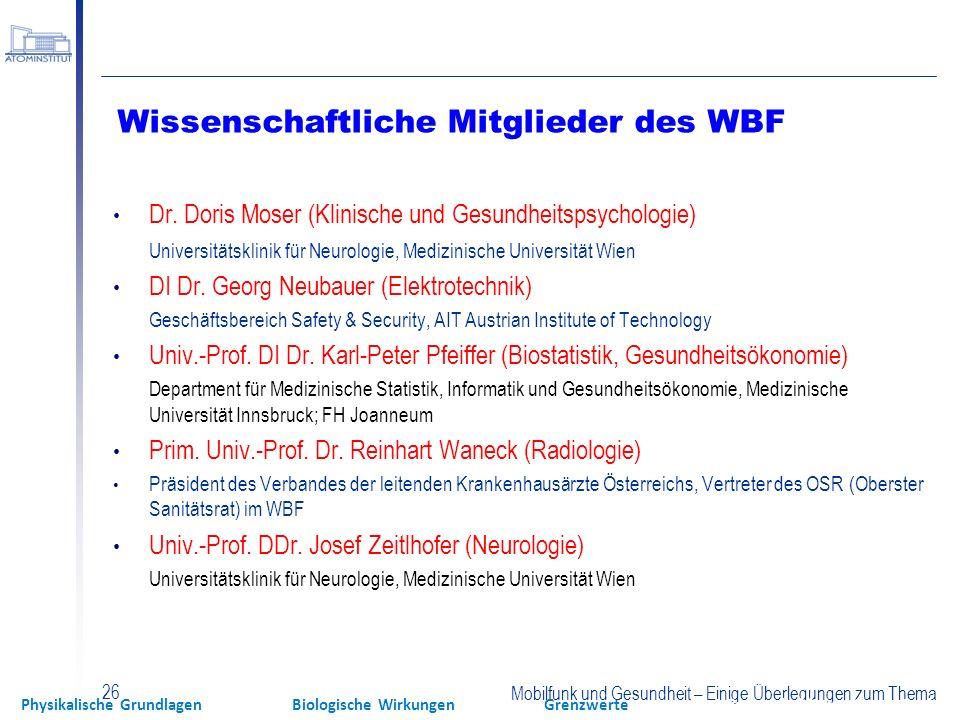 Wissenschaftliche Mitglieder des WBF