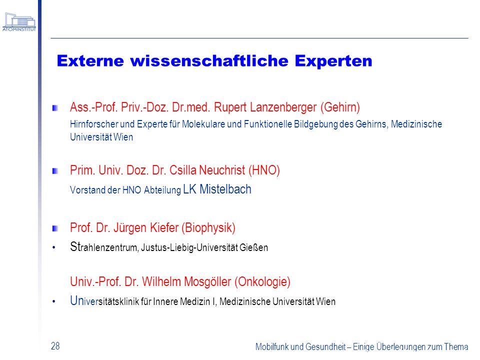 Externe wissenschaftliche Experten