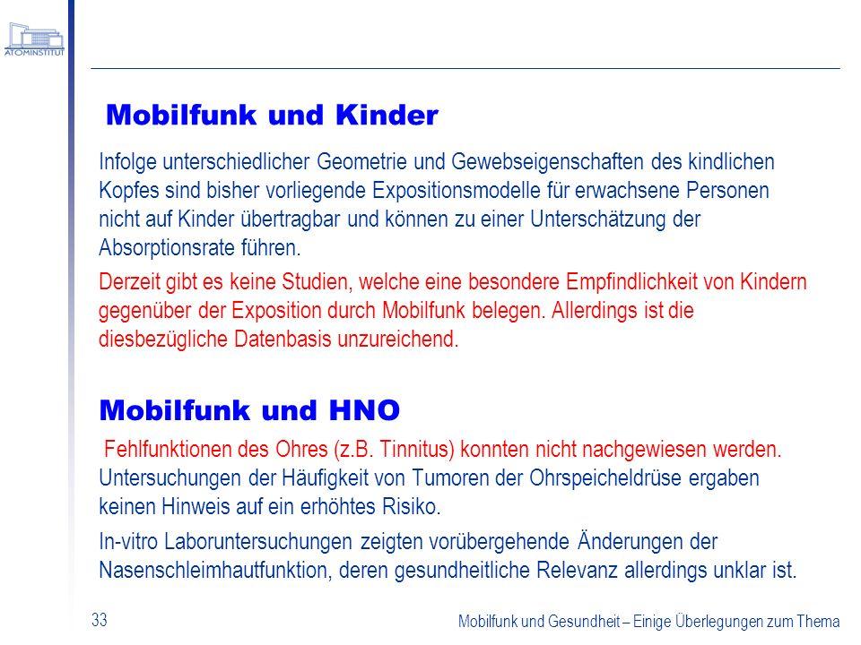 Mobilfunk und Kinder Mobilfunk und HNO