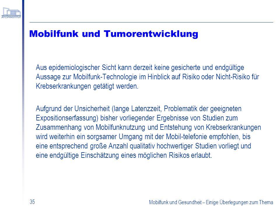 Mobilfunk und Tumorentwicklung