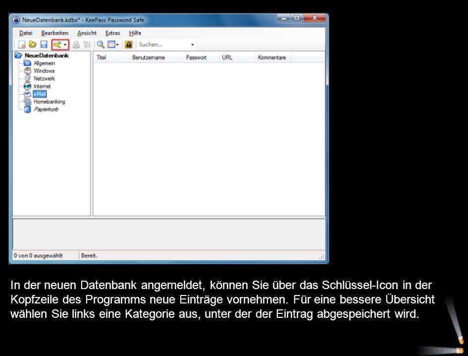 In der neuen Datenbank angemeldet, können Sie über das Schlüssel-Icon in der Kopfzeile des Programms neue Einträge vornehmen.