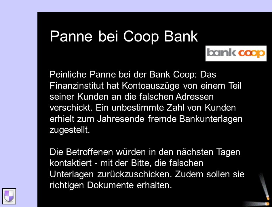 Panne bei Coop Bank