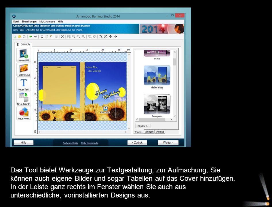 Das Tool bietet Werkzeuge zur Textgestaltung, zur Aufmachung, Sie können auch eigene Bilder und sogar Tabellen auf das Cover hinzufügen.