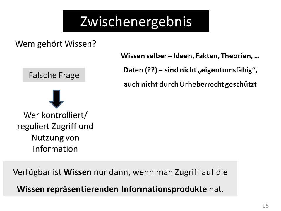 Wer kontrolliert/ reguliert Zugriff und Nutzung von Information