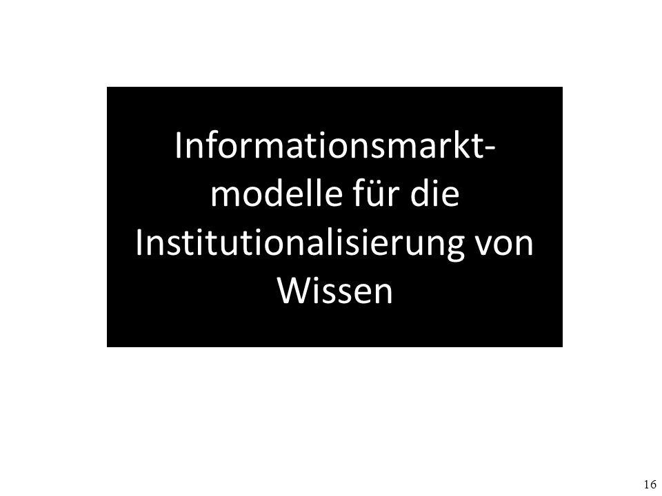 Informationsmarkt-modelle für die Institutionalisierung von Wissen