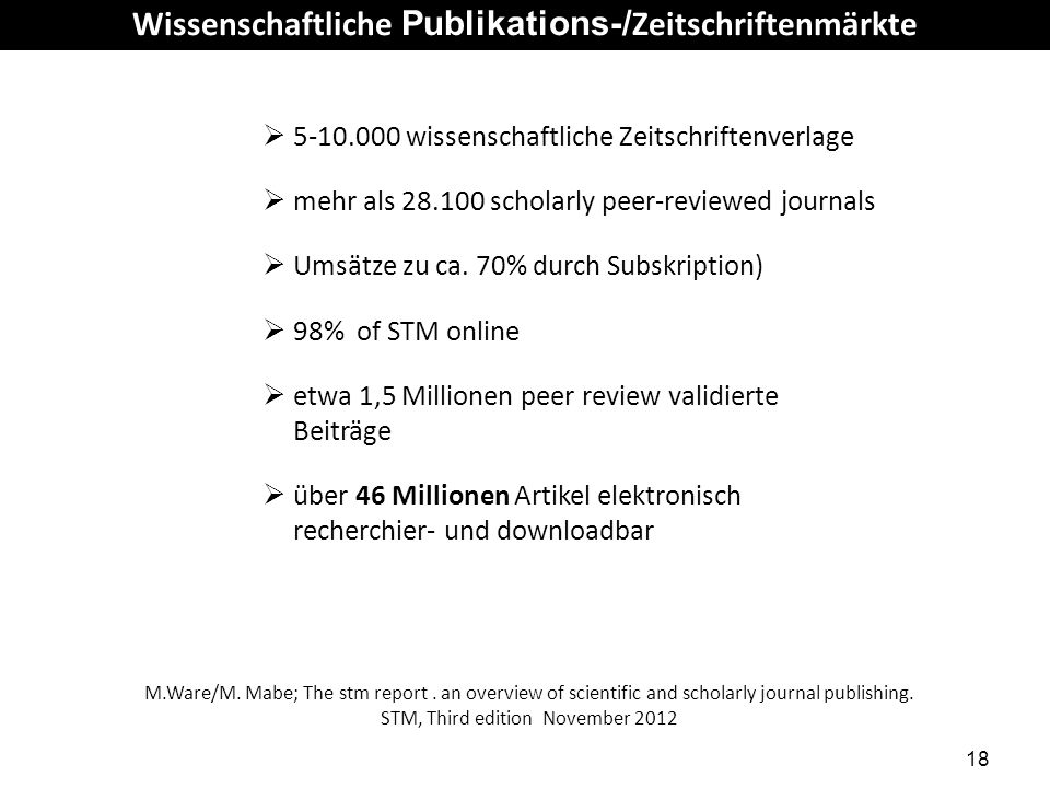 Wissenschaftliche Publikations-/Zeitschriftenmärkte
