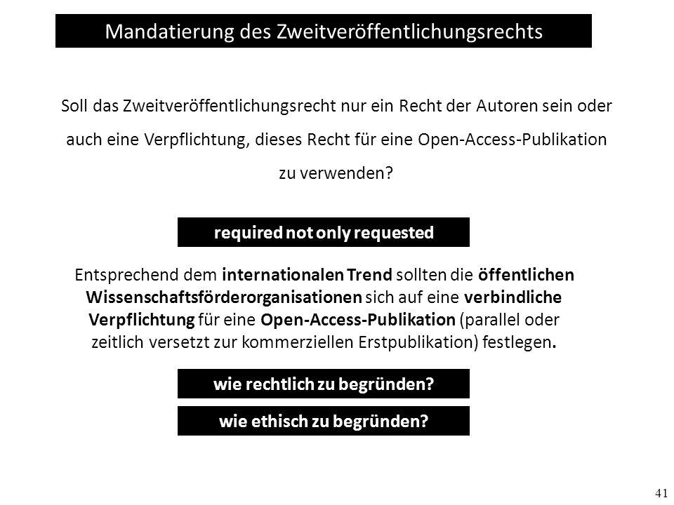 Mandatierung des Zweitveröffentlichungsrechts
