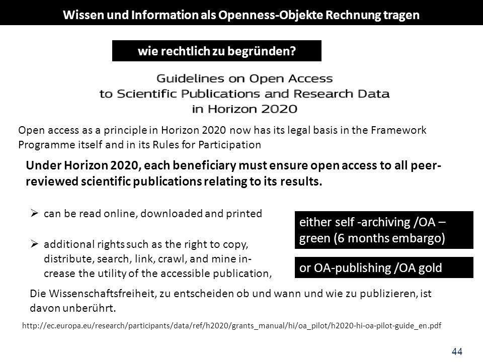 Wissen und Information als Openness-Objekte Rechnung tragen