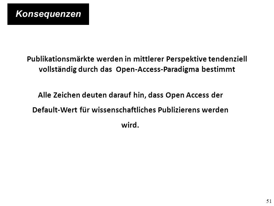 Konsequenzen Publikationsmärkte werden in mittlerer Perspektive tendenziell vollständig durch das Open-Access-Paradigma bestimmt.