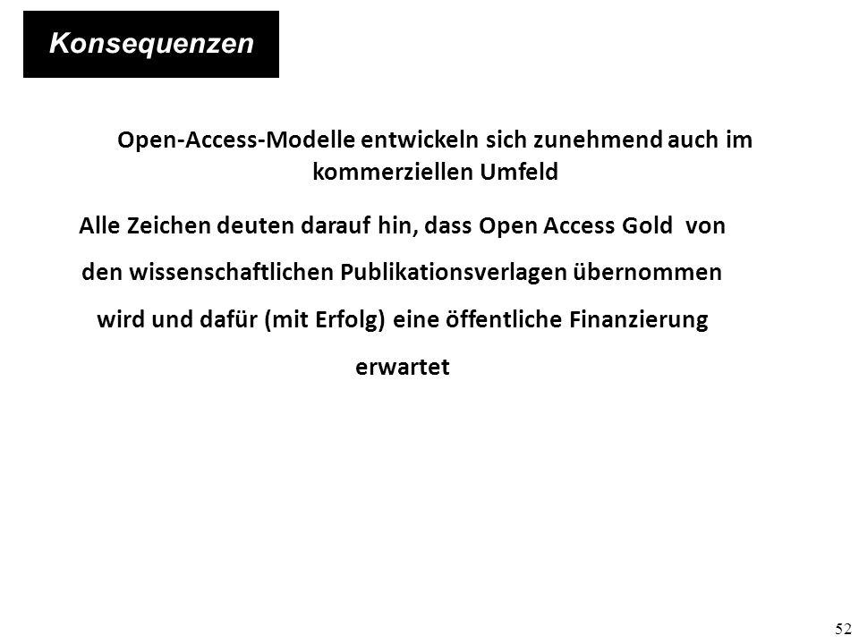 Konsequenzen Open-Access-Modelle entwickeln sich zunehmend auch im kommerziellen Umfeld.