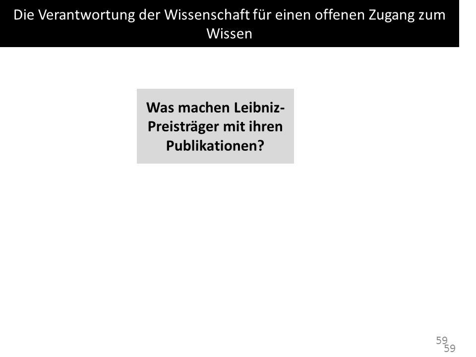 Was machen Leibniz-Preisträger mit ihren Publikationen