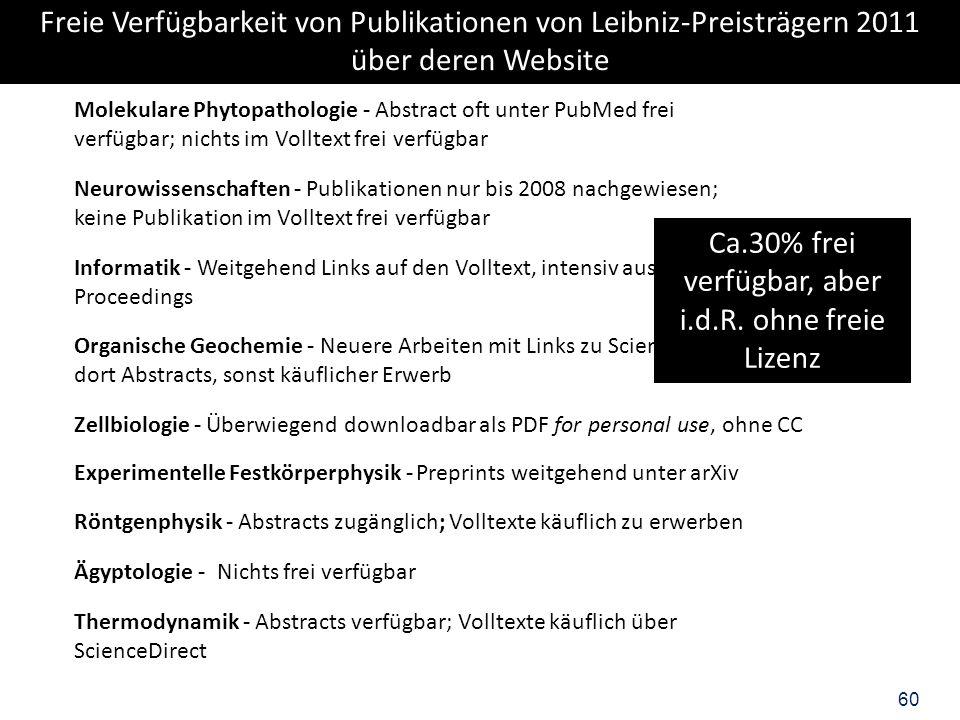Freie Verfügbarkeit von Publikationen von Leibniz-Preisträgern 2011