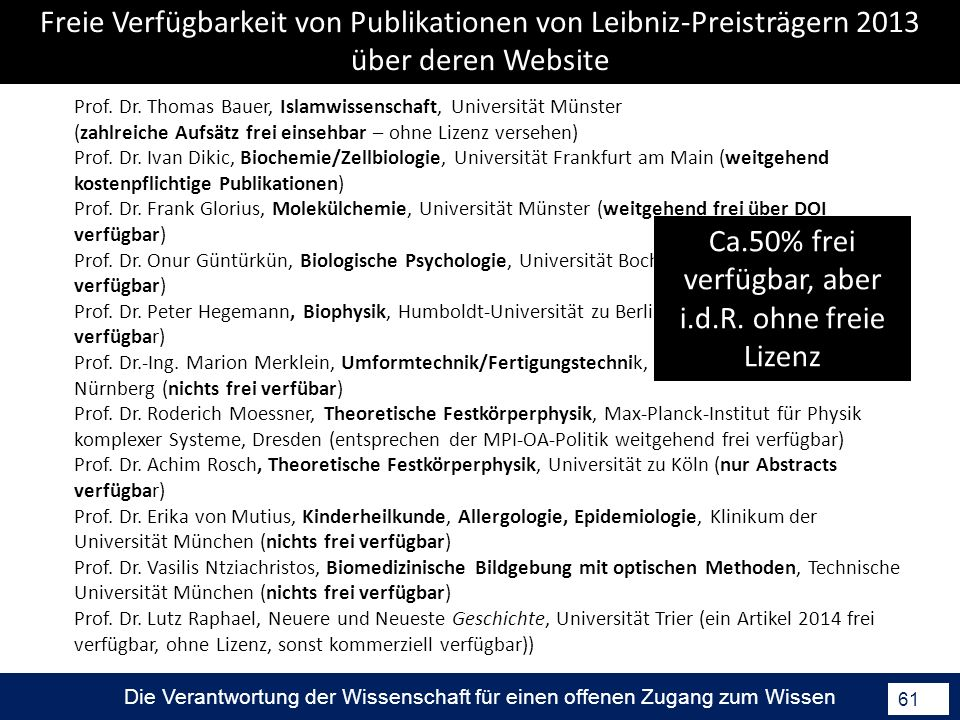 Freie Verfügbarkeit von Publikationen von Leibniz-Preisträgern 2013