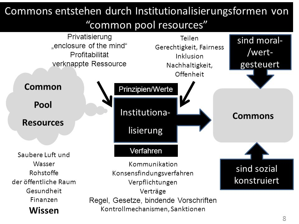 Commons entstehen durch Institutionalisierungsformen von common pool resources