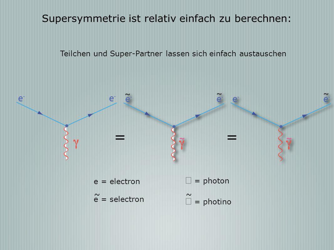 = Supersymmetrie ist relativ einfach zu berechnen: γ = photon