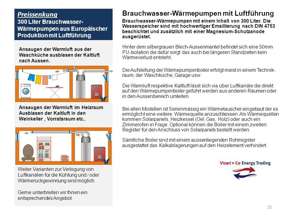 Preissenkung 300 Liter Brauchwasser-Wärmepumpen aus Europäischer Produktion mit Luftführung