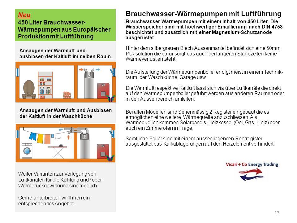 Neu 450 Liter Brauchwasser-Wärmepumpen aus Europäischer Produktion mit Luftführung