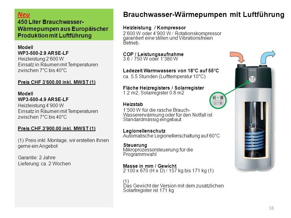 Brauchwasser-Wärmepumpen mit Luftführung