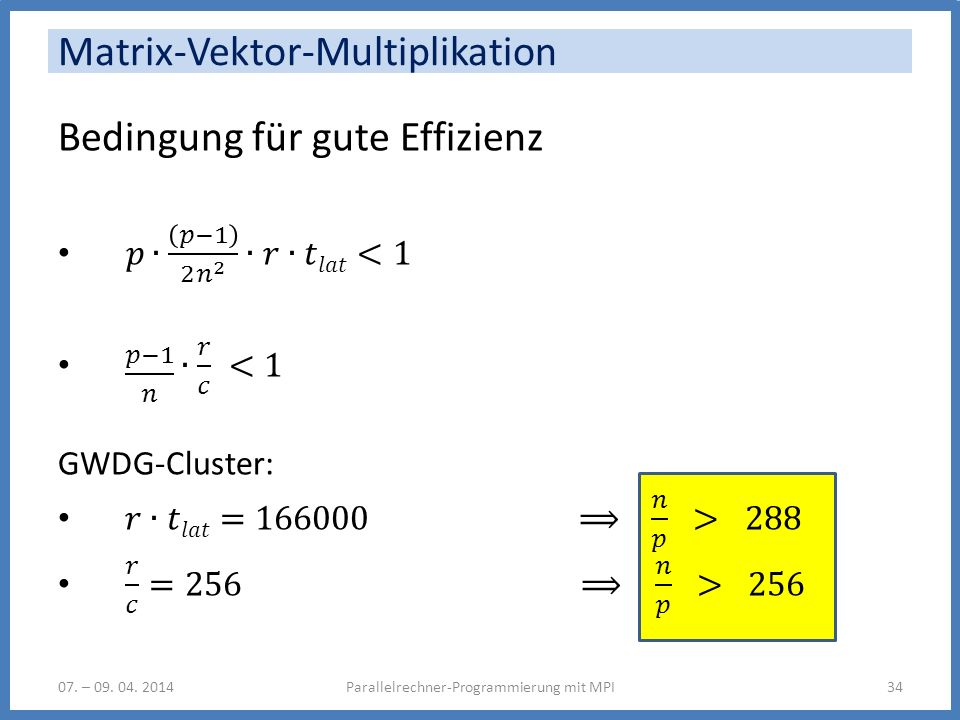 Matrix-Vektor-Multiplikation