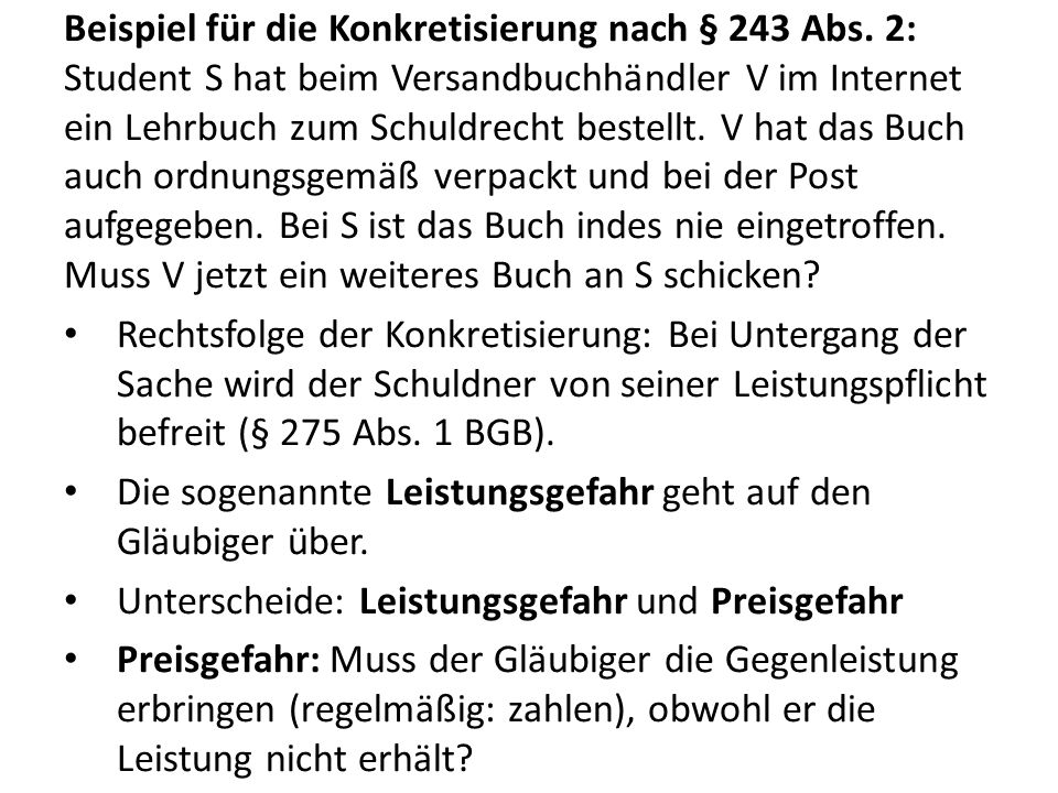 Beispiel für die Konkretisierung nach § 243 Abs
