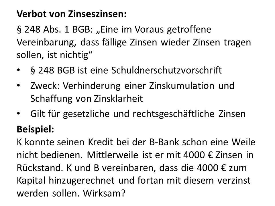 Verbot von Zinseszinsen: