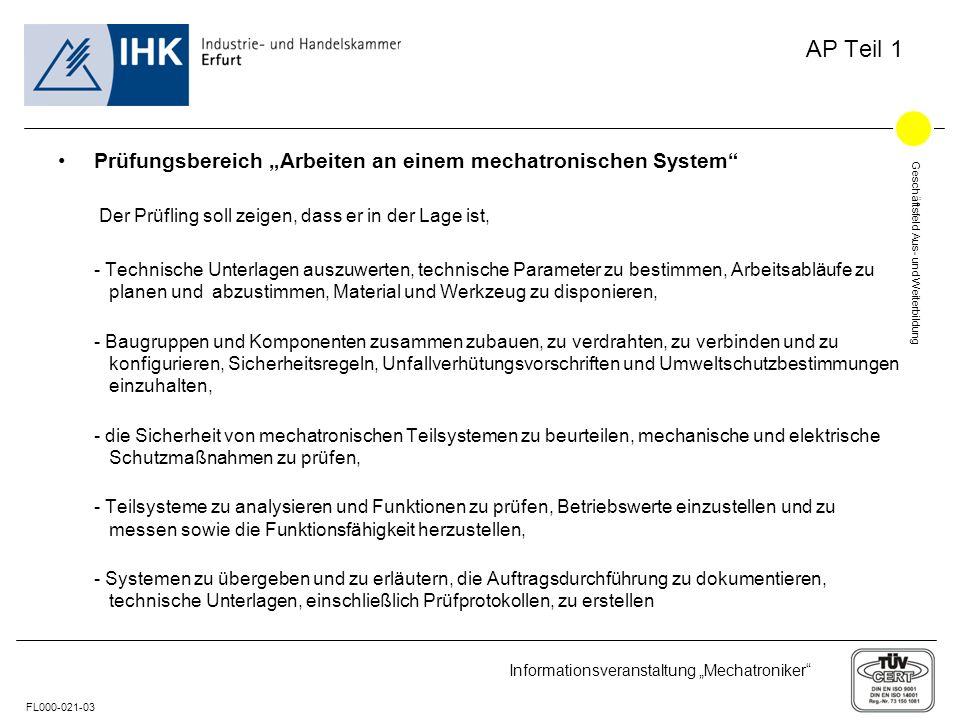 """AP Teil 1 Prüfungsbereich """"Arbeiten an einem mechatronischen System"""