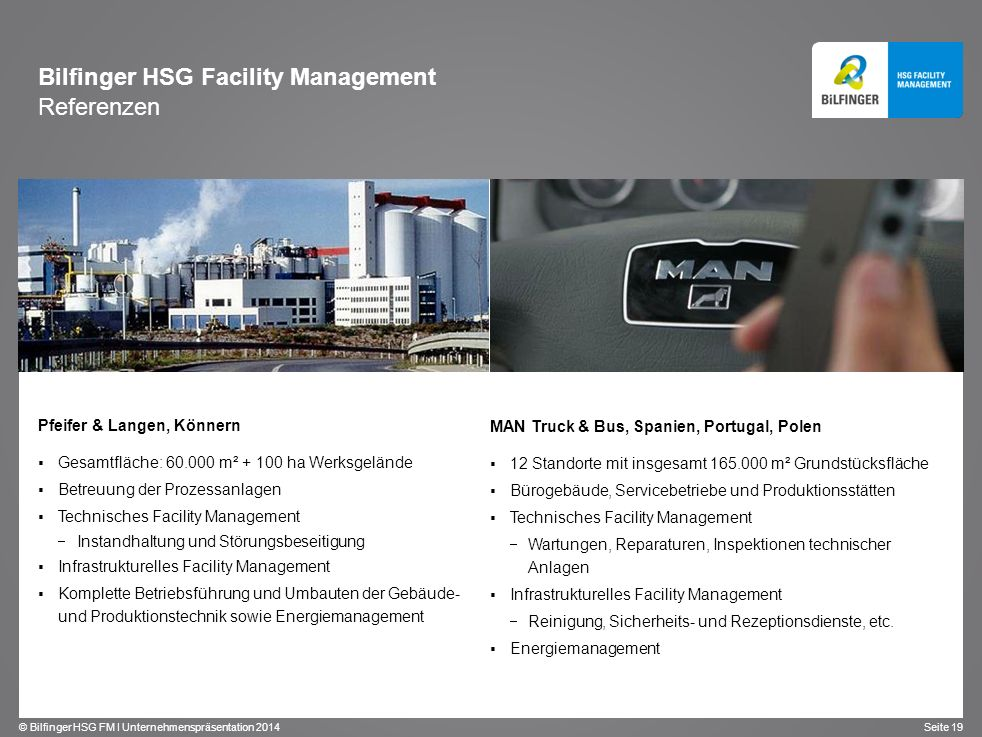 Bilfinger HSG Facility Management Referenzen