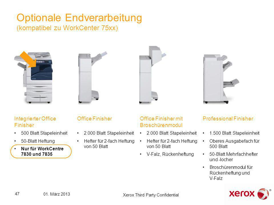Optionale Endverarbeitung (kompatibel zu WorkCenter 75xx)