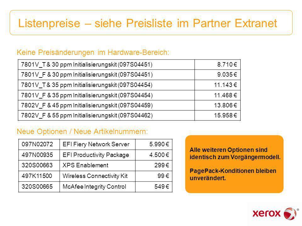 Listenpreise – siehe Preisliste im Partner Extranet