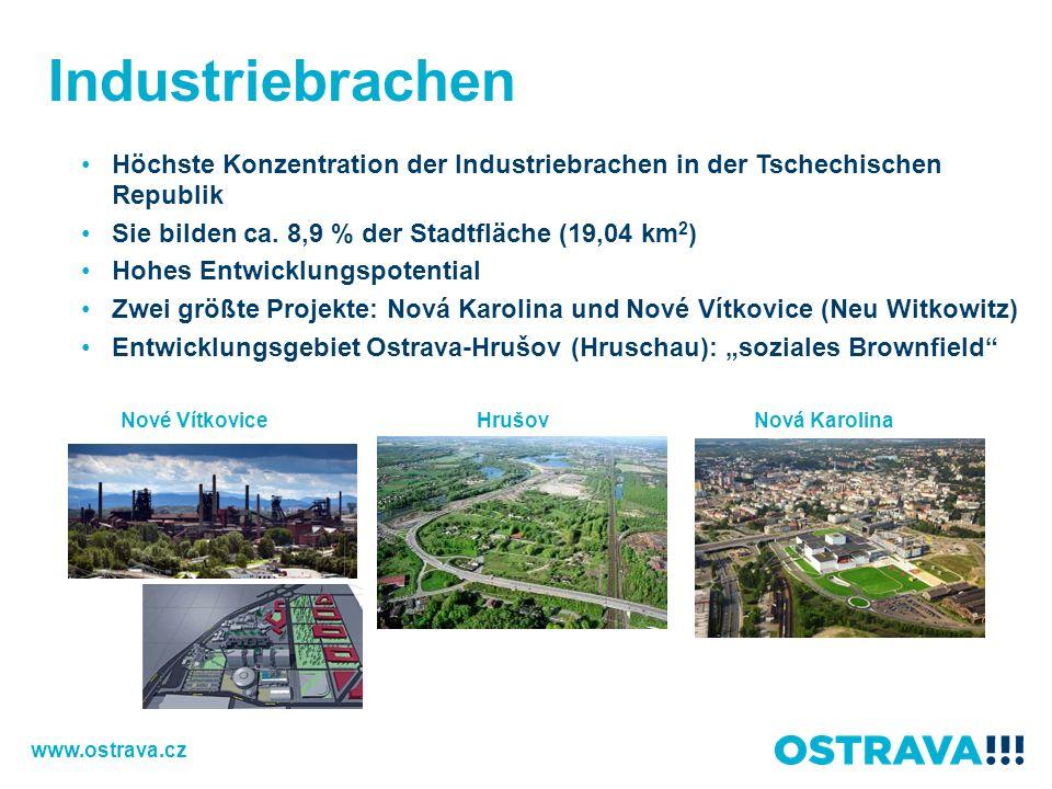 Industriebrachen Höchste Konzentration der Industriebrachen in der Tschechischen Republik. Sie bilden ca. 8,9 % der Stadtfläche (19,04 km2)