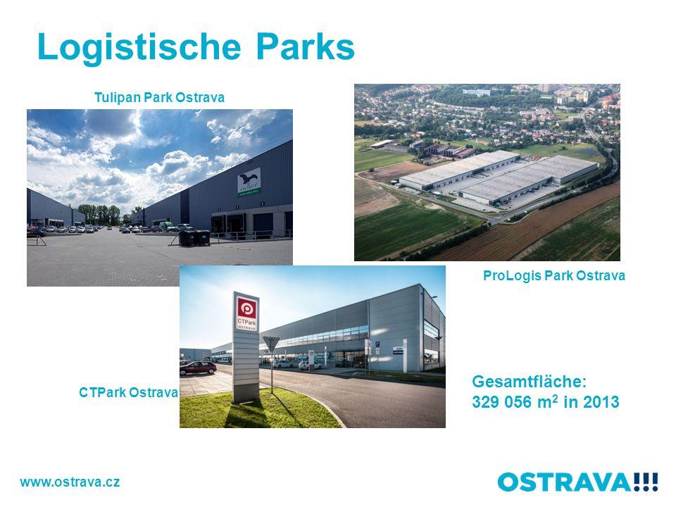Logistische Parks Gesamtfläche: 329 056 m2 in 2013