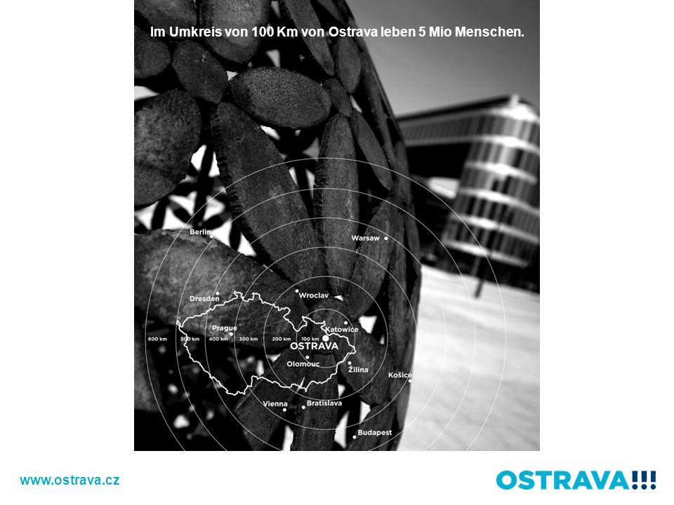 Im Umkreis von 100 Km von Ostrava leben 5 Mio Menschen.