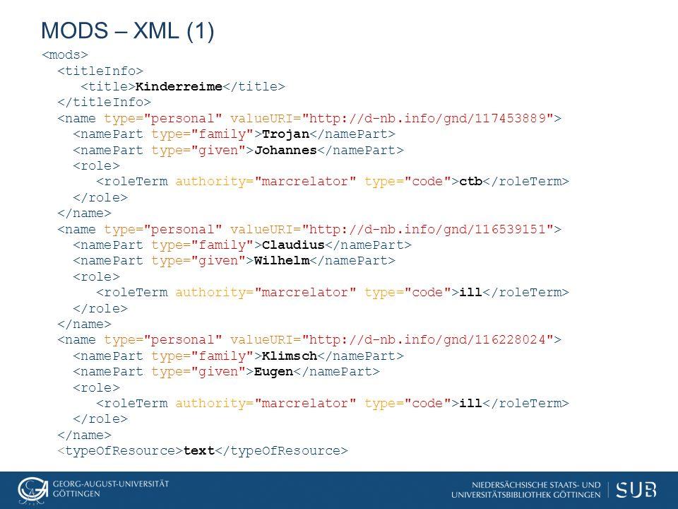 MODS – XML (2) <originInfo> <place>