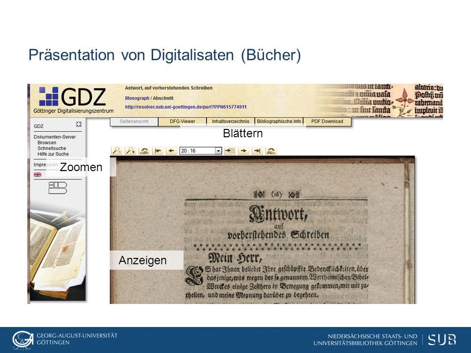 Präsentation von Digitalisaten (Bücher)