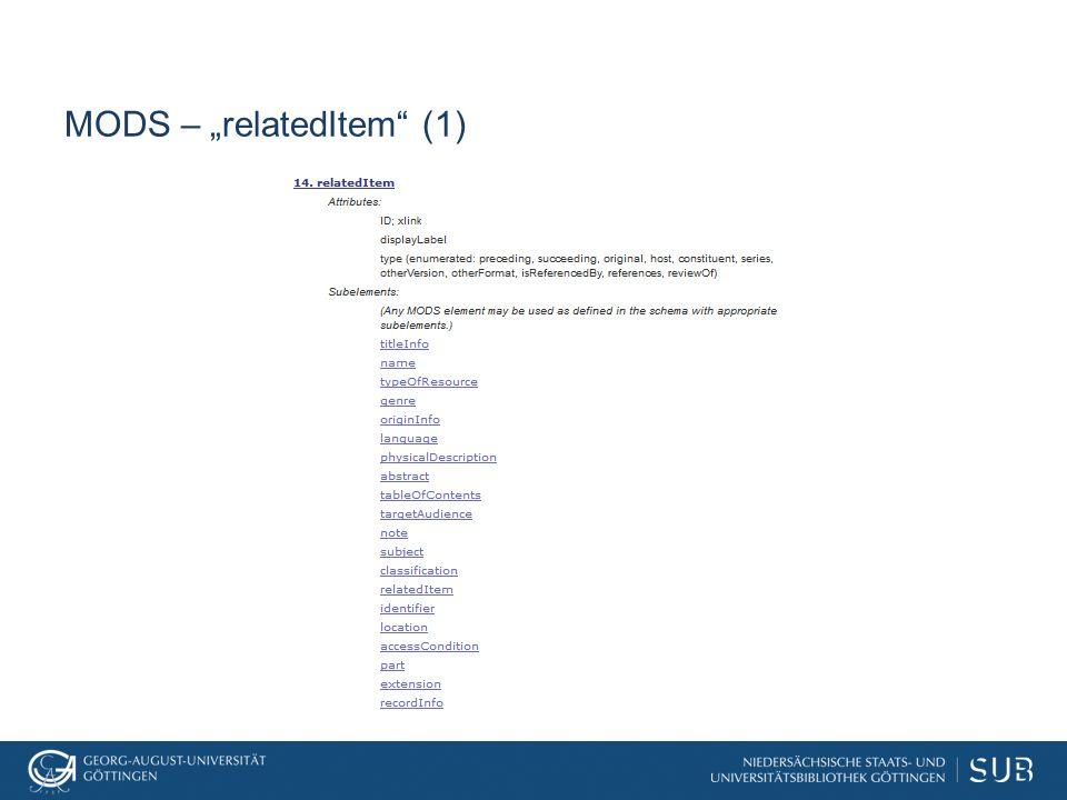 """MODS – """"relatedItem (2)"""