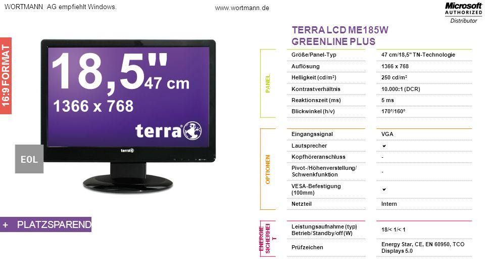 18,5 47 cm 1366 x 768 TERRA LCD ME185W GREENLINE PLUS 16:9 FORMAT