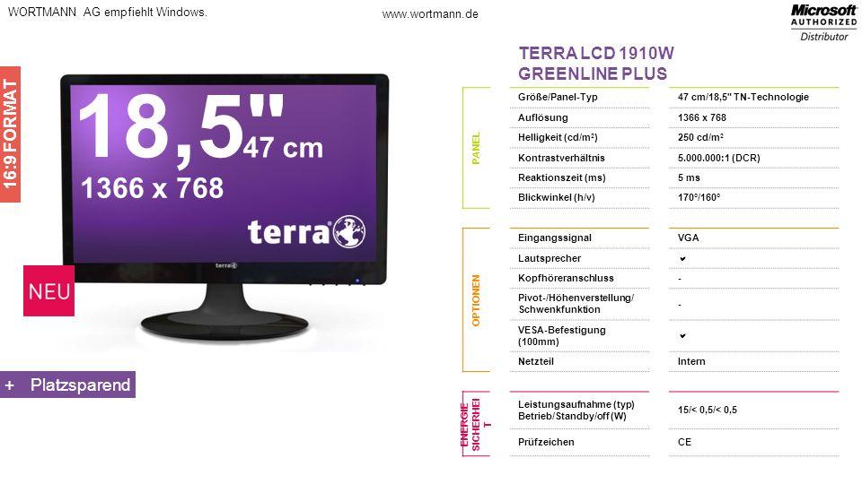 18,5 47 cm 1366 x 768 TERRA LCD 1910W GREENLINE PLUS 16:9 FORMAT