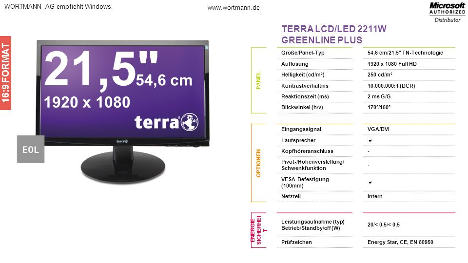 21,5 54,6 cm 1920 x 1080 TERRA LCD/LED 2211W GREENLINE PLUS